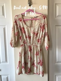 white and pink floral long-sleeved dress