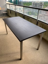 Espresso brown/black table with stainless steel legs