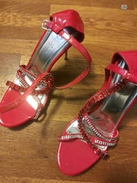 Red heels with red and silver beading. Size 10 Charlotte, 28208