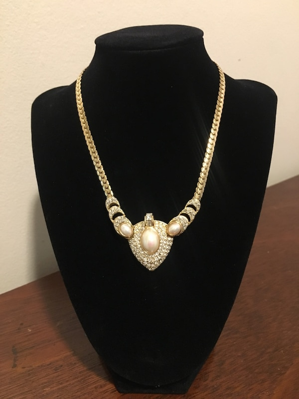 Vintage Christian Dior Gold and diamond studded necklace