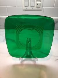 Anchor Hocking Charm (pattern) Green Depression Glass Plates (3)