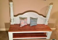 """Beautiful Custom Headboard Bench. Bottom shelf and sitting area is sealed cedar wood the rest is a mint green. This piece has been professionally painted and sealed.  W 69"""" D 23"""" H 57""""Read Less Brandon, 39042"""