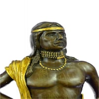 Gold Patina Native Indian Prince Bronze Sculpture (14X5 Inches)