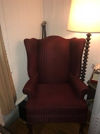 brown wooden framed red padded armchair Nether Providence, 19086
