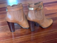 pair of brown leather side zip booties ????, 20121