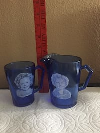 Collectible antique Shirley Temple pitcher and matching cup