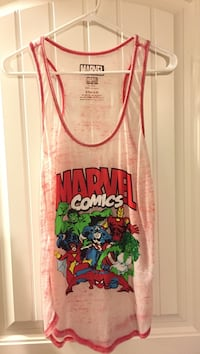 White and red marvel comics graphic tank top