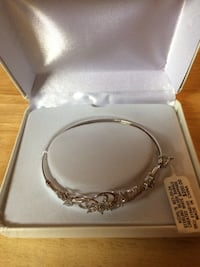 Sterling Silver Bangle/Created White Sapphire