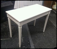 Mid Century Solid Walnut White Piano Bench / White Wooden Table