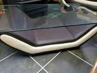 Coffee table leather and glass
