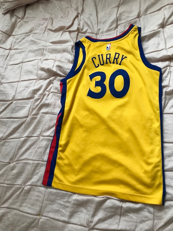 uk availability f30db ce1d7 yellow and blue Adidas Golden State Warriors jersey
