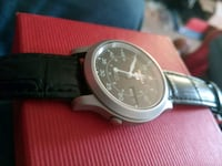 round silver-colored chronograph watch with black leather strap Santa Clara, 95050