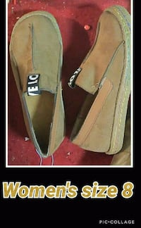 pair of brown suede pointed-toe heeled shoes Rock Spring