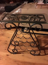 Wine holder glass side table metal gray.