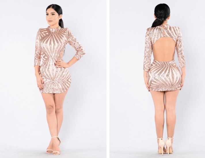 Used Fashion Nova Rose Gold Dress,Size S for sale in
