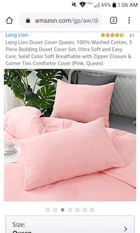 New unused duvet and pillow cover set queen size