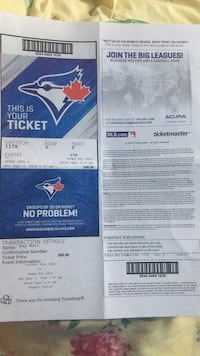 Two bluejays tickets $75 ech 9row set 9 and 10 Toronto, M3N 1K2