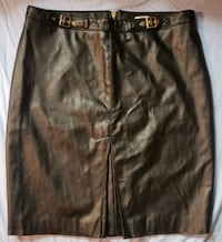 Size 14 Large Jay Manuel Faux Leather Skirt w/ Buc Vaughan, L4K