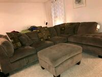 gray suede sectional couch with ottoman Ashburn, 20147