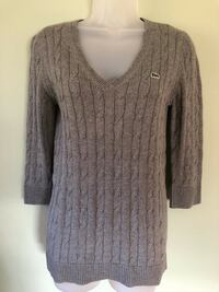 Lacoste women's gray cable knit v-neck 3/4 sleeve sweater size 38 Hillsborough, 08844
