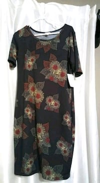 Black and red floral long-sleeved dress Seminole, 33777