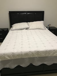 Black bed with mattress, box and two night tables Vaughan, L4H 4K4