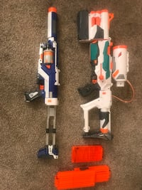 2 nerf guns , modulus tri strike, Spector red 5 with ammo. And extra clips Allendale, 49460