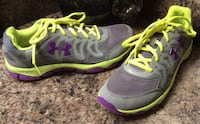 Under Armour gray, purple, & apple green running shoes ( pls slide to see other photos ) Calgary, T2J 1V5