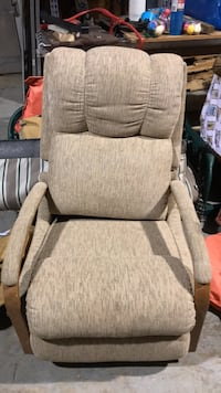 brown wooden framed gray fabric padded armchair Saint Hedwig, 78152