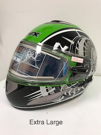 Green, black and white AFX snowmobile helmet Laval, H7L 1K4
