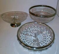 3 Piece Crystal and Silver Serving Dishes Concord, 28025