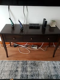 black wooden TV stand with flat screen television Woodstock, N4S 6G3