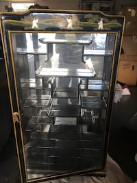 black and gray metal framed glass display cabinet Washington, 20024