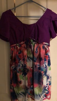 Women's red and blue floral dress 2065 mi
