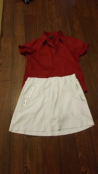 beige mini skirt and red collared shirt Las Vegas, 89102