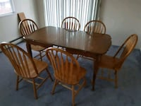 Oak Kitchen Table with 6 Wooden Chairs Surrey, V3W 5N3