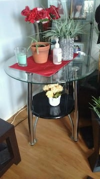 black and Silver glass end tables set of 2  Winnipeg, R3B 1T4