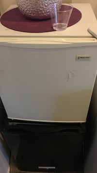 white and gray compact refrigerator