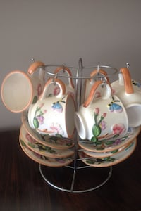 white green and brown ceramic floral teacups Markham, L3P 2X4