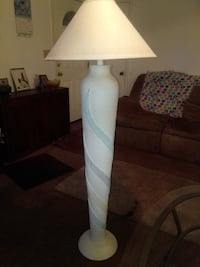white ceramic base table lamp with white lampshade null
