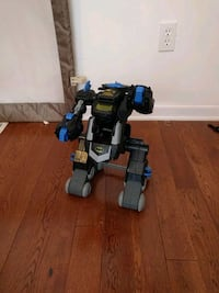 black and blue robot toy