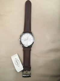round silver chronograph watch with black leather strap Vaughan, L4J 0B6
