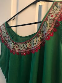 Women's green and red floral blouse