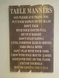 Wood table manners sign