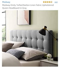 New Modway Emily Tufted Button Linen Fabric Upholstered QueenHeadboard Woodbury