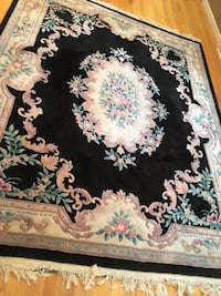 black and pink floral area rug