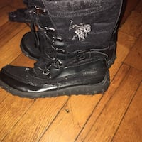 pair of black leather boots New York, 11213