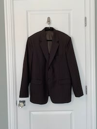 Men's medium brown pinstripe suit jacket blazer + pants.