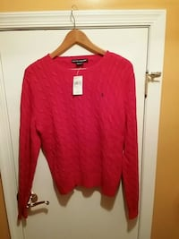 Red Ladies Ralph  Lauren scoop-neck sweater(XL)