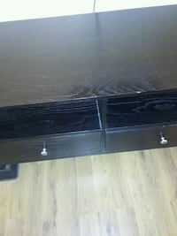 black wooden 2-drawer console table